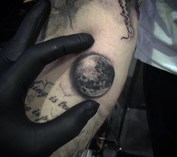 Black and Grey Ink Moon Tattoo by Kace