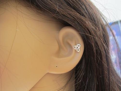 Sterling Silver Celtic Knot Helix Earring