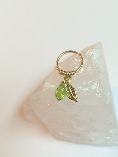 22 gauge 8mm Gold Filled Helix Ring with Leaf and Green Glass Bead