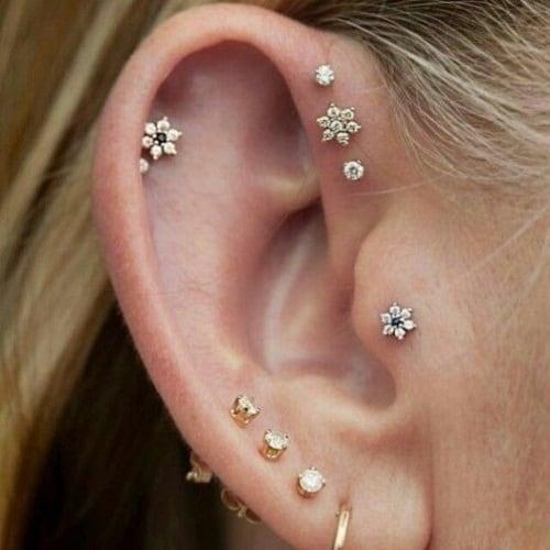 Boho Flower Helix Stud Earring