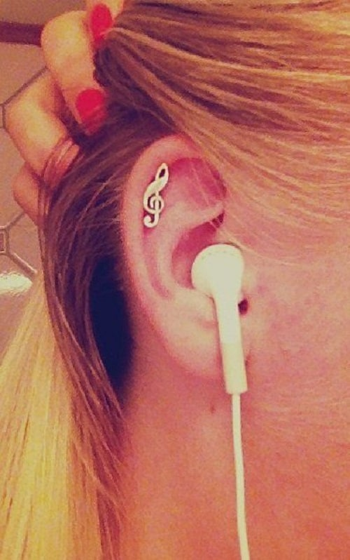 G-clef Helix earring for musicians