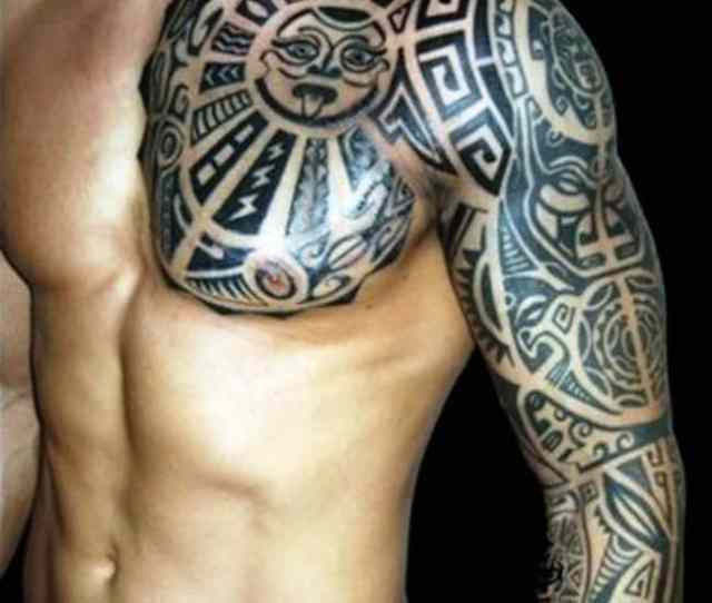 Polynesian Pug Sleeve Tattoo