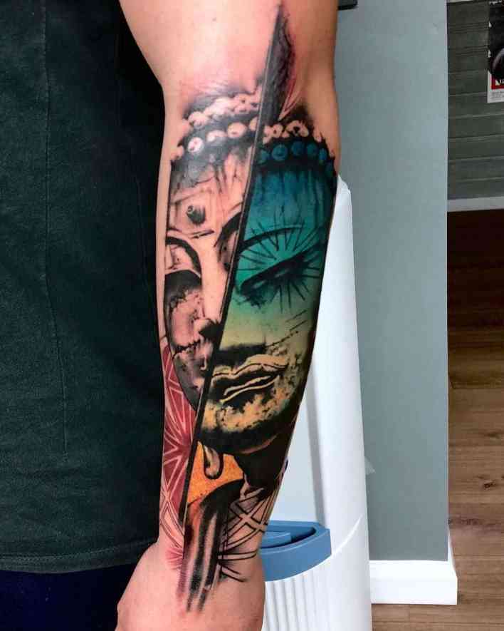 surrealism arm tattoo