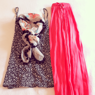 Animal Print Camisole with Long Coral Skirt with Polka Dot and Pom Pom Scarf. Soft, feminine and fun!