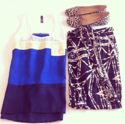 Print Pant with Colour Block Stripe Singlet mixed up with Animal Print Shoe.