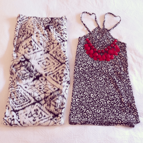 Black & White Print Pant with Black & White Animal Print Camisole. Add a Statement Necklace to add a pop of colour to the Monochrome palette!