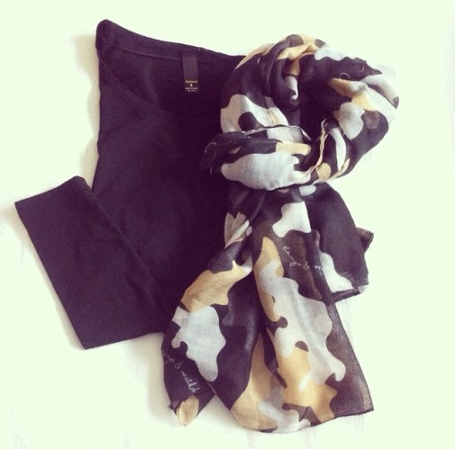Plain black top with scarf for a more casual look