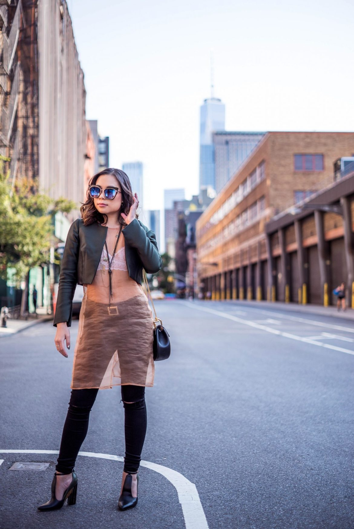 Kasey Ma, influencer and blogger of The StyleWright, wearing Leanne Marshall during New York Fashion Week 2017