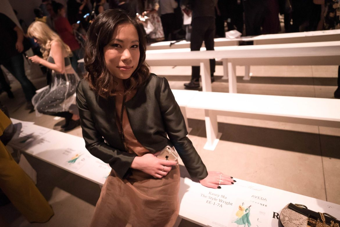 Kasey Ma, influencer and blogger of The StyleWright, wearing Leanne Marshall in the Front Row of her New York Fashion Week SS'18 Show