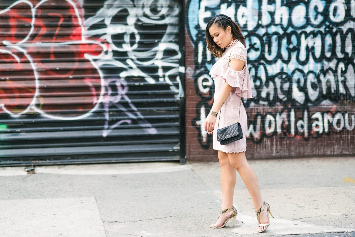 Kasey Ma, influencer and blogger of The StyleWright, wearing Elliatt during New York Fashion Week 2017 in Tribeca, Manhattan, New York City