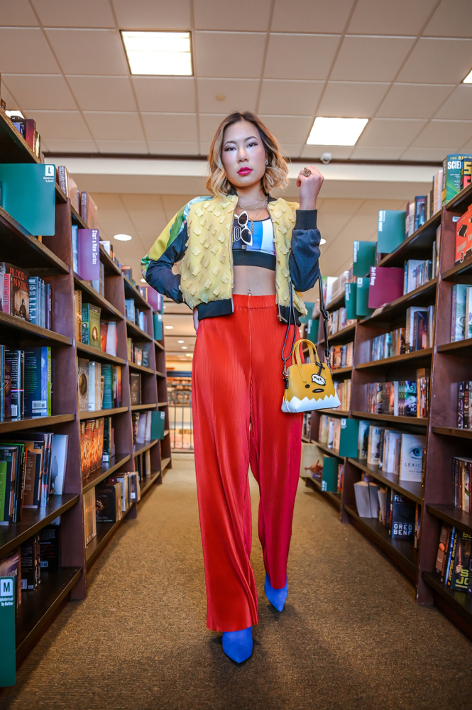 Kasey Ma Fashion Blogger and Influencer of TheStyleWright wears 2Madison Avenue for the Indonesian Diversity Show and Gudetama with bold colors in streestyle for NYFW 2019 New York Fashion Week