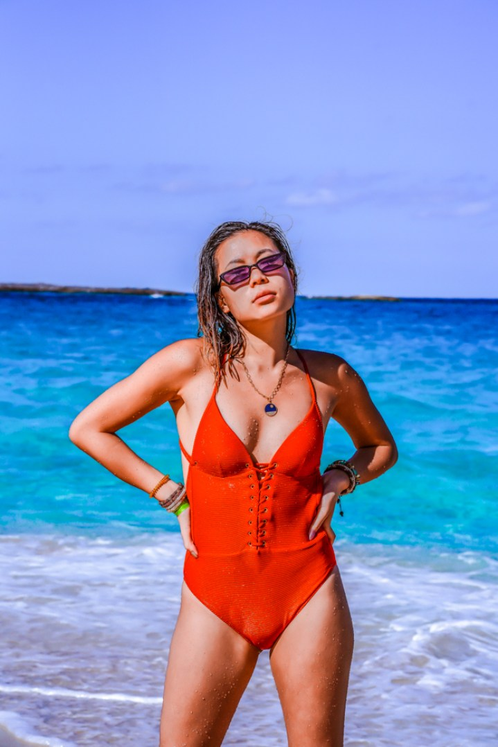 Kasey Ma of The StyleWright Calzedonia Red Ester Stylish Swimwear With Ties With Denim Jeans