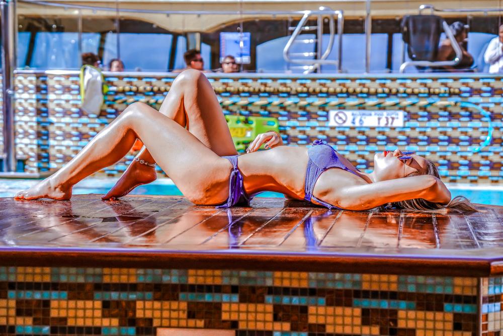 Kasey Ma of The StyleWright Calzedonia Carla Push Up Bikini Top and Bottom Poolside