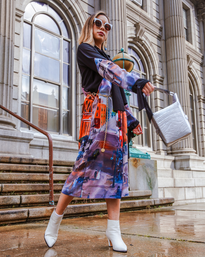 kasey ma in indonesian diversity for new york fashion week 2019 holding a jeff wan bag and wearing bill blass shoes