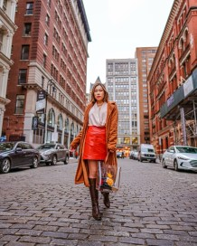 Kasey Ma of the Style Wright wearing Shein coat posing in the streets of NYC for NYFW 2020