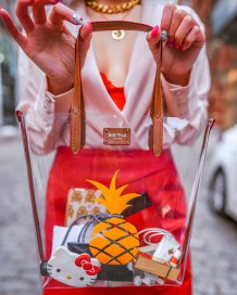 Kasey Ma of the Style Wright wearing Shein coat posing in the streets of NYC for NYFW 2020 jeff wan pineapple tote