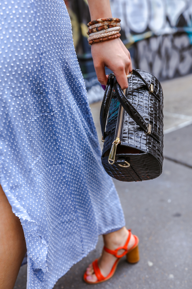 kasey ma of thestylewright wearing a bag and accessories with the aimee song of style dress fashion