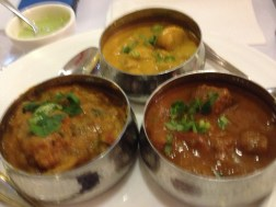 Chicken, lamb and veggie curries, delicious
