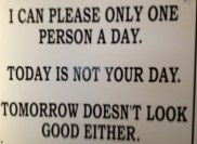 At the burger place, quite the attitude! :)