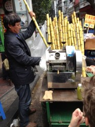 Here's the vendor we tried out sugar cane juice with... not too exciting but interesting.