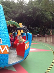 Ride at Chimelong Paradise, kiddo happy to go on his own.