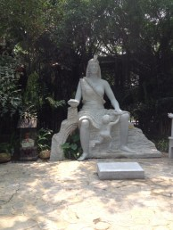 We visited Nanning Hot Springs, statue at front.