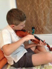 Yes, violin, new instrument for him.