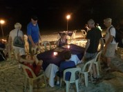 Beachside dining, be careful, the tide rises!