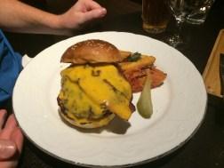 Husband's burger, quite heavy.