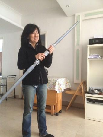 Lenore Look visit- preparing for an epic sword battle.