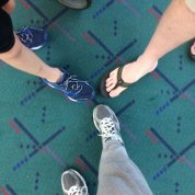 Portland Airport tradition- carpet photo, home time!