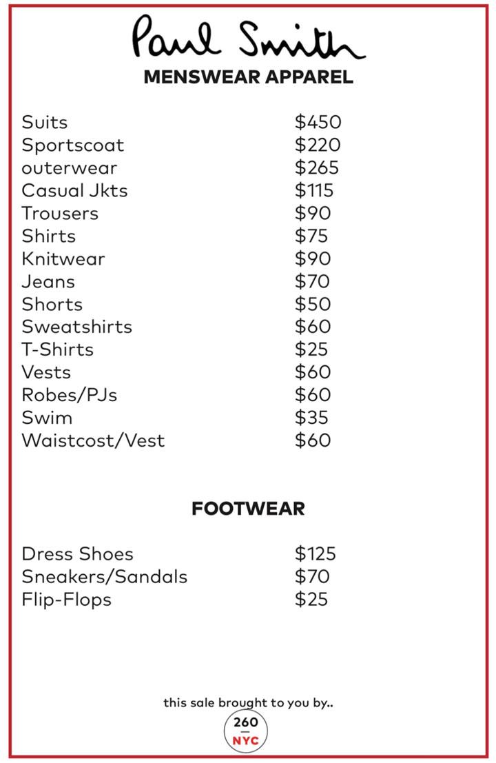 Paul-Smith Sample Sale Menswear Price List