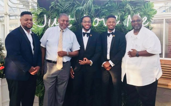 From left to right: Adrian Francisco (groom), uncle Anthony Francisco, cousin Miles Francisco, myself, and father Andre' Francisco.