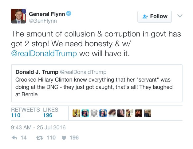 Tutta questa collusione e corruzione nel governo deve fermarsi! Ci serve onestà, e con @realDonaldTrump l'avremo.