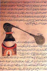 fornello alchemico con testo arabo