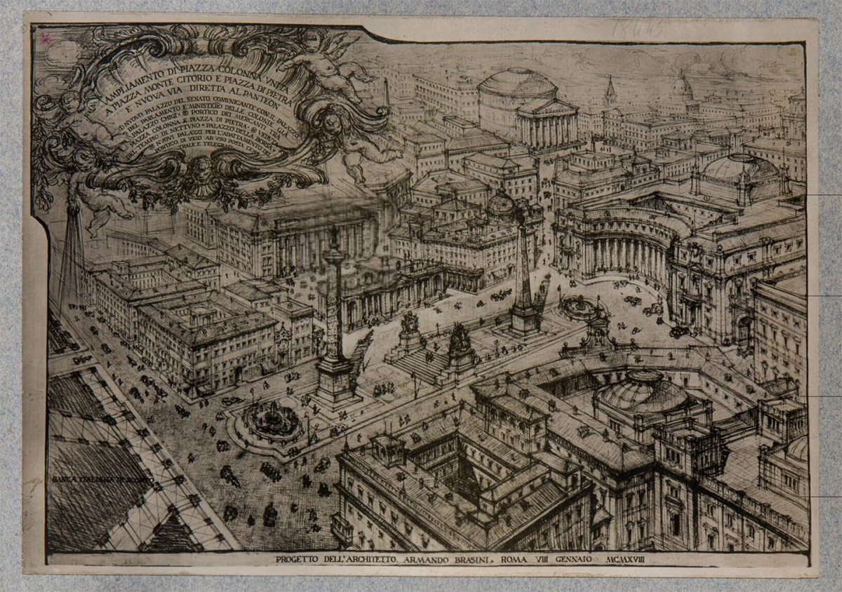 Piazza Colonna, progetto di ampliamento, 1918