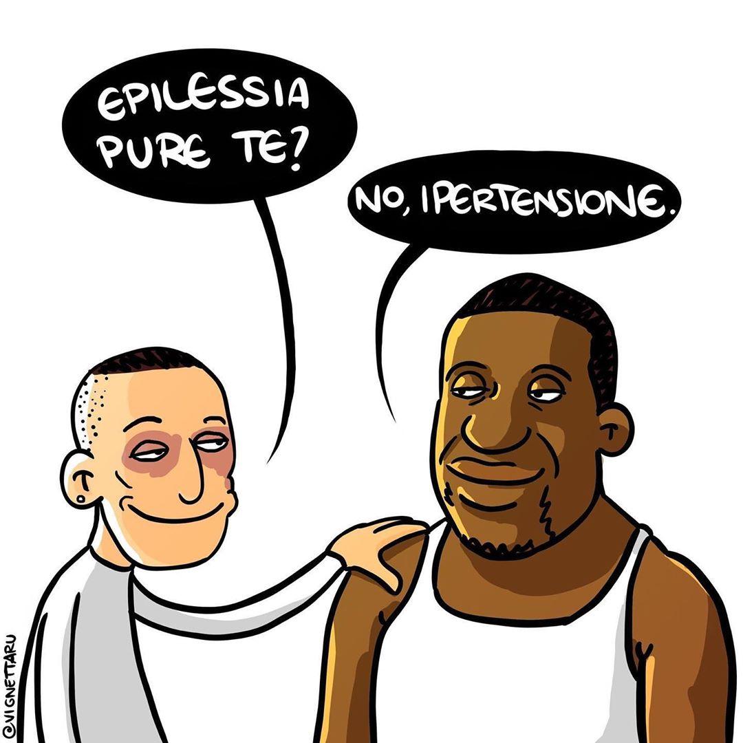Stefano Cucchi e George Floyd in una vignetta di Vignettaru