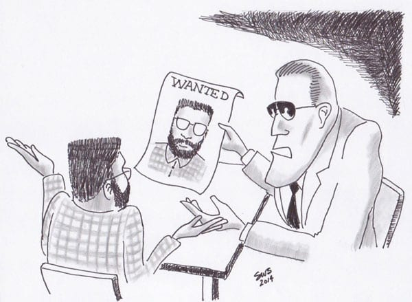 Drawing by SWS - FBI Interview - Plaid Shirt Bandit 1974