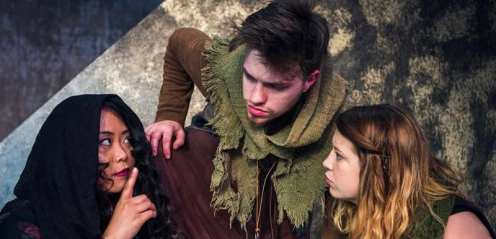 Three witches meet and share their thoughts and warnings. (Kaylie Hussey, Ethan Bujeaud, Jackie V.C.)