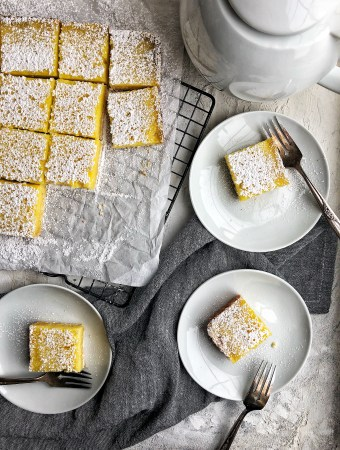 A luscious, not-too-sweet lemon bar made with Meyer lemons, shortbread crust, and a tart, puckery filling.