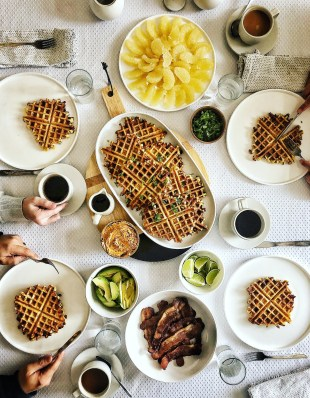 cornmeal waffles brunch