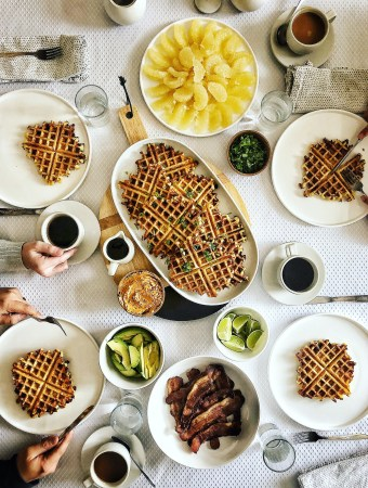 cornmeal waffles brunch