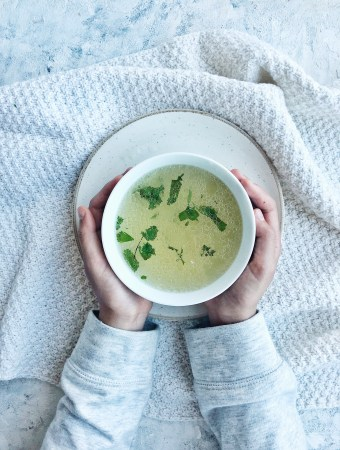 A cozy, warming chicken soup spiked with ginger and fish sauce.