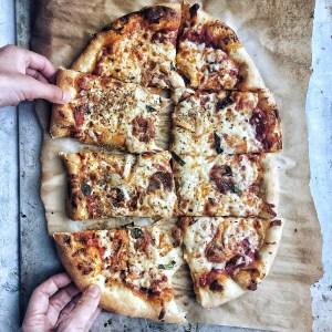 Kimchi and bacon pizza