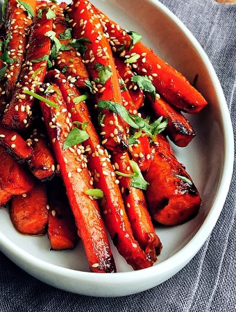 Gochujang Roasted Carrots, platter