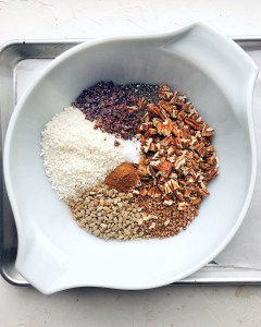 Dark Chocolate Granola, dry ingredients