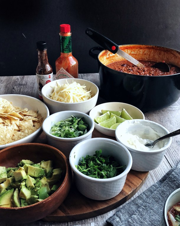 Chili Bar with toppings