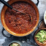 easy homemade Chili in a pot with soup ladle