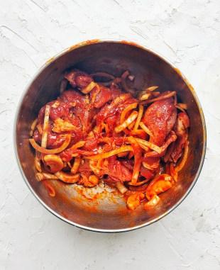 raw, mariated Korean spicy pork in bowl