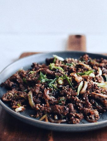 Korean beef Bulgogi on a plate